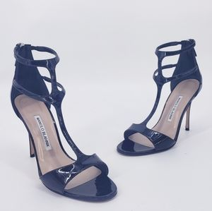 Manolo Blahnik Cellin Strappy Patent Sandal Black